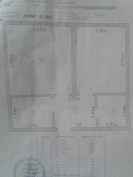 Apartament 2 camere, decomandat, 40 mp, zona Billa.