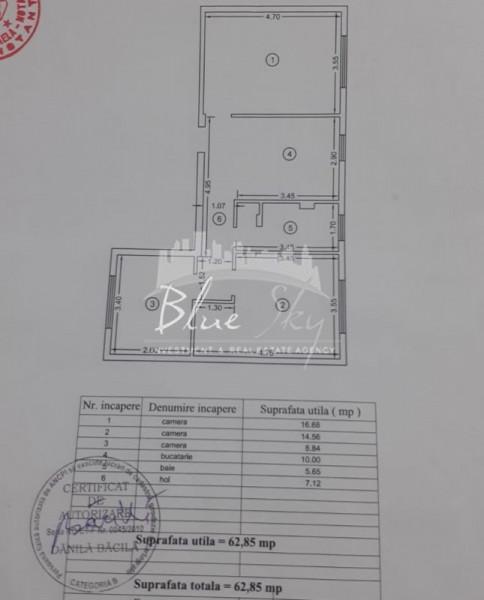Poarta 6, 3 camere decomandate, 63 mp., centrala gaze